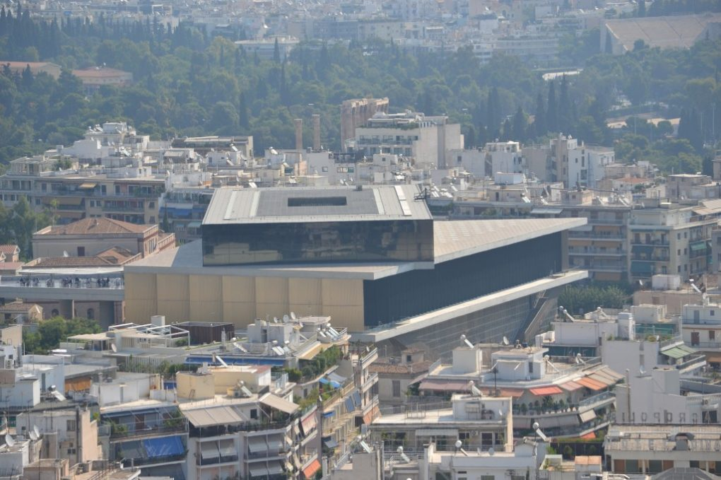 Acropolis Museum as seen from the Parthenon atop the Athenian Acropolis