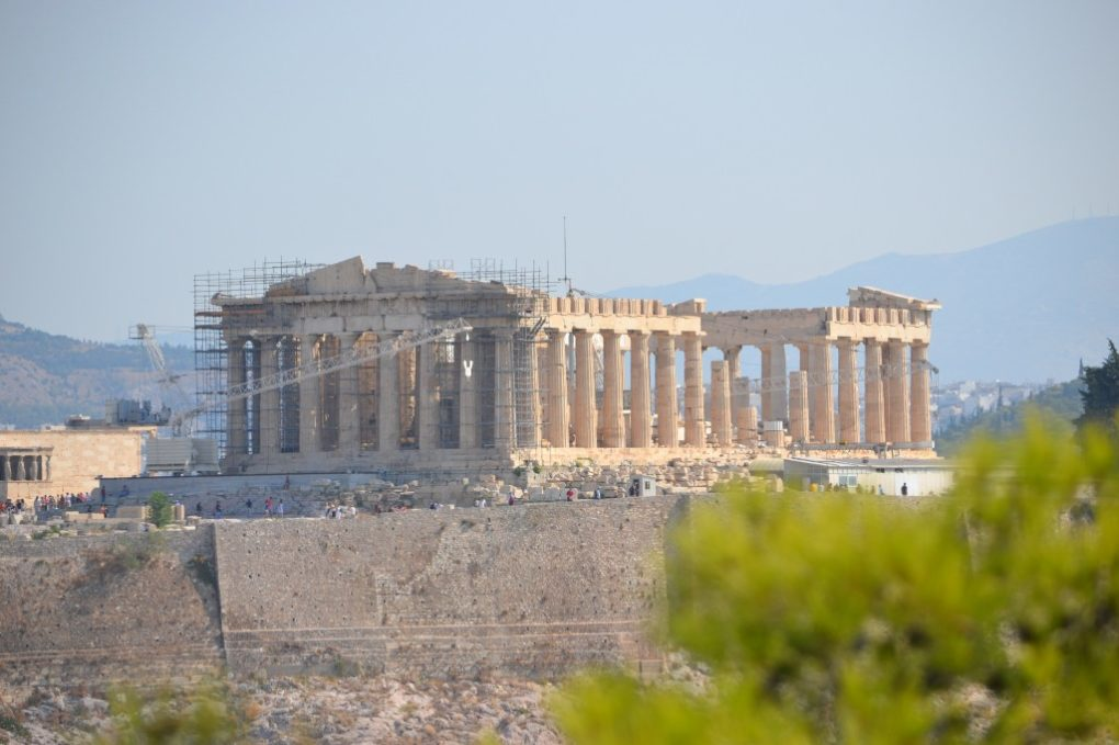 The Parthenon atop the Athenian Acropolis