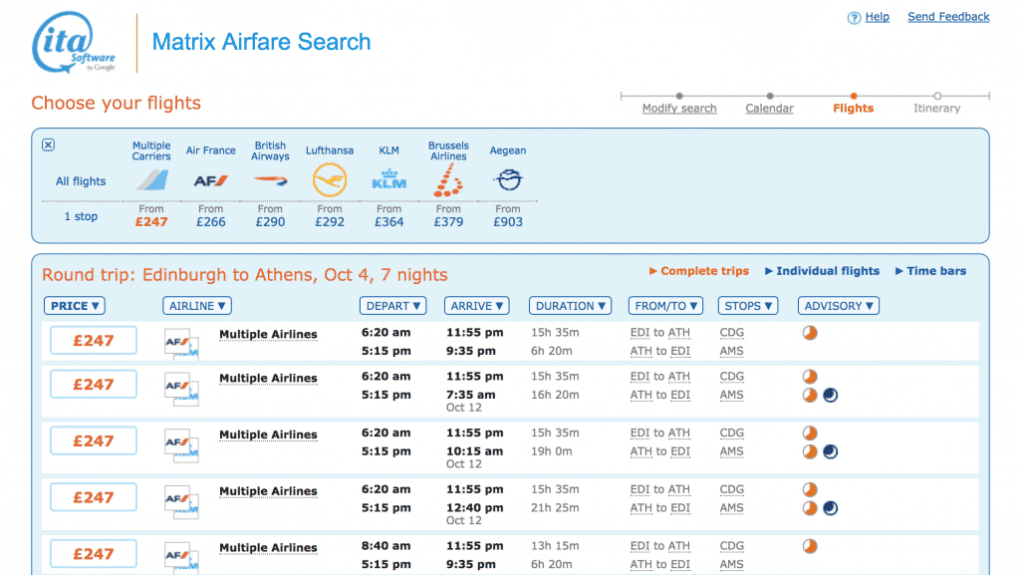 Matrix Airfare Search