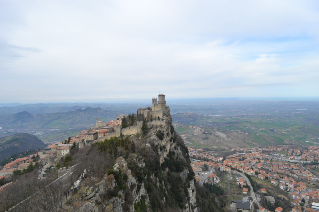 San Marino at one end of Monte Titano